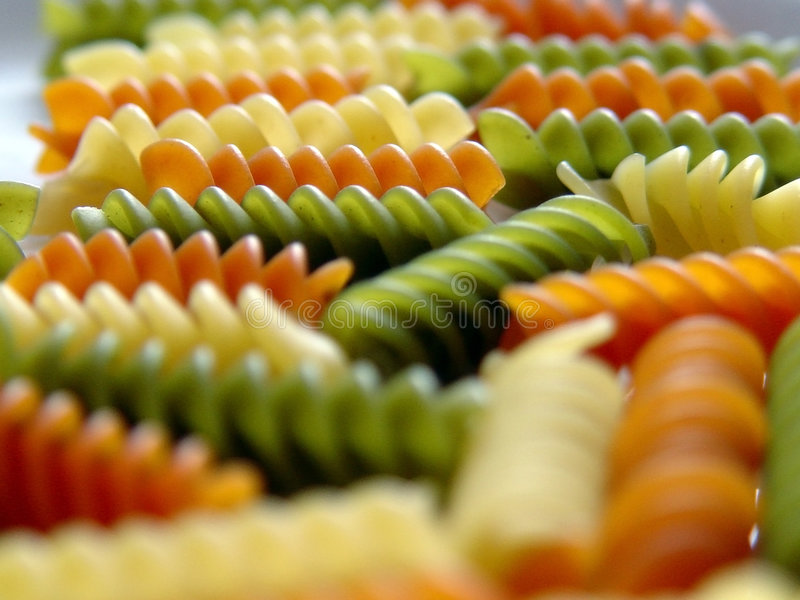 Fusilli pasta three colours 4 stock photo