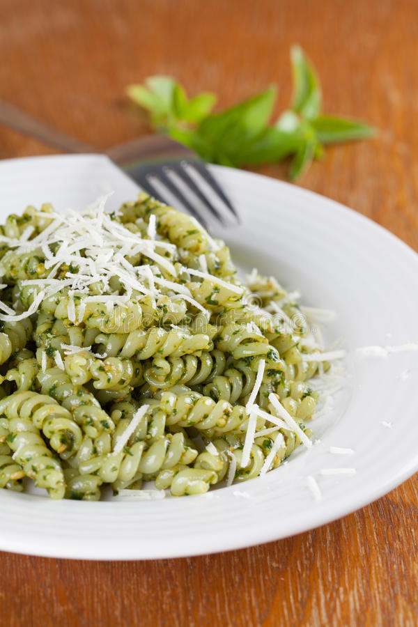 Fusilli With Pesto And Parmesan Stock Photo