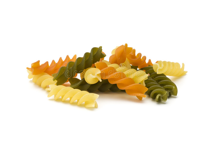 Fusilli tricolori pasta isolated royalty free stock photos
