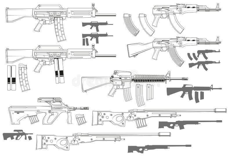 Fusils d'assaut automatiques noirs et blancs graphiques illustration libre de droits