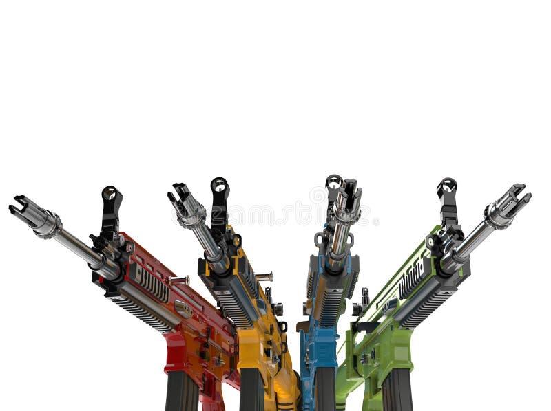 Fusils d'assaut en vert, bleu, rouge et le vert illustration libre de droits