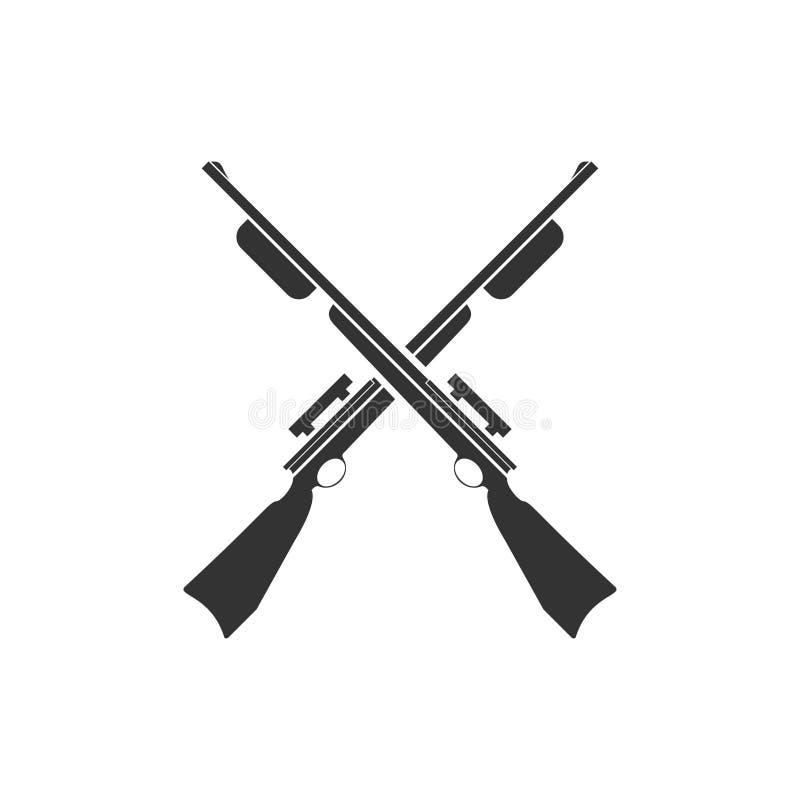 Fusils de chasse croisés, chassant l'icône de fusils à plat illustration stock