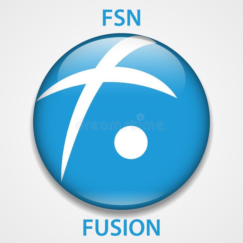 Fusion Coin cryptocurrency blockchain icon. Virtual electronic, internet money or cryptocoin symbol, logo.  vector illustration