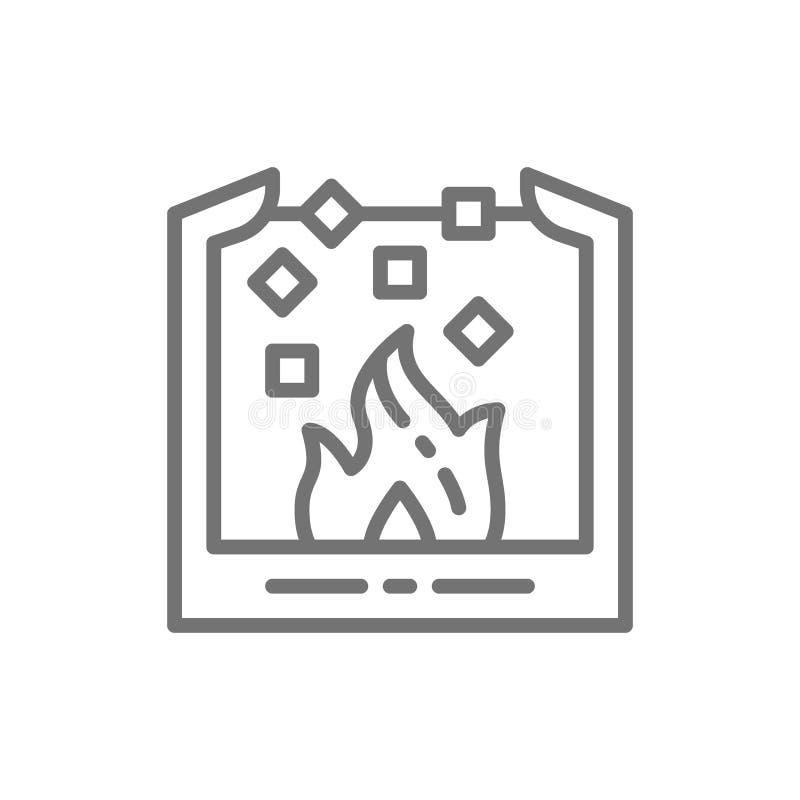 Fusion des métaux de souffle, poche pour l'acier de fonte, ligne icône de métallurgie illustration libre de droits