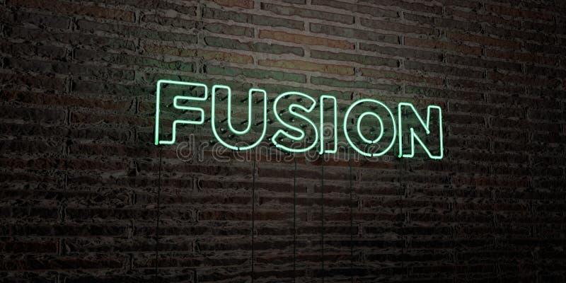 FUSION - enseigne au néon réaliste sur le fond de mur de briques - image courante gratuite de redevance rendue par 3D illustration de vecteur
