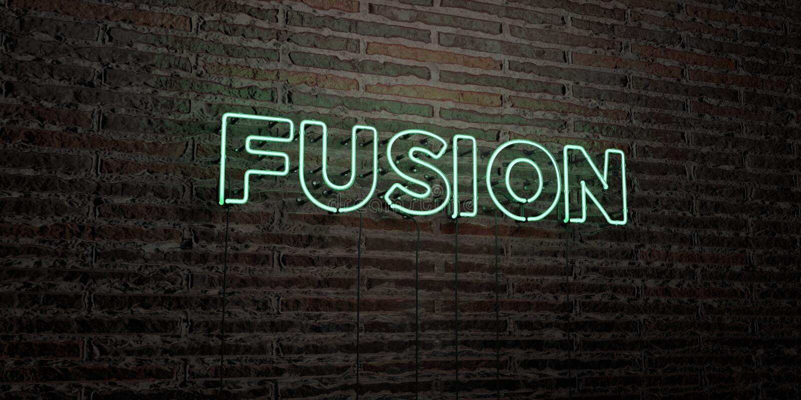FUSION -Realistic Neon Sign on Brick Wall background - 3D rendered royalty free stock image vector illustration