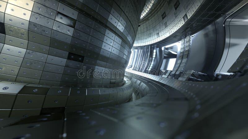 Fusionsreaktor Tokamak Reaktionskammer Fusionsenergie illus 3d lizenzfreie stockfotos