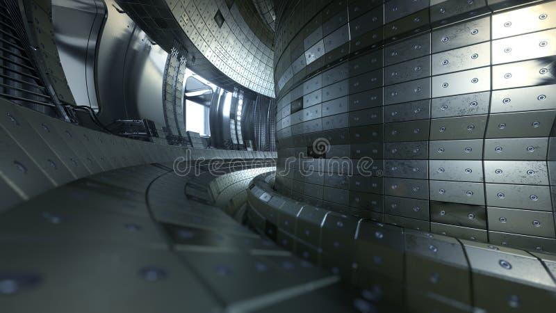 Fusionsreaktor Tokamak Reaktionskammer Fusionsenergie illus 3d stockbilder