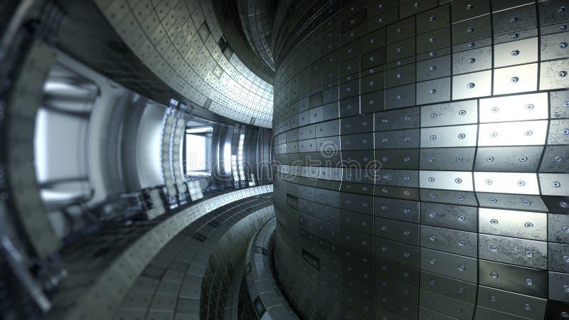 Fusionsreaktor Tokamak Reaktionskammer Fusionsenergie illus 3d stockbild