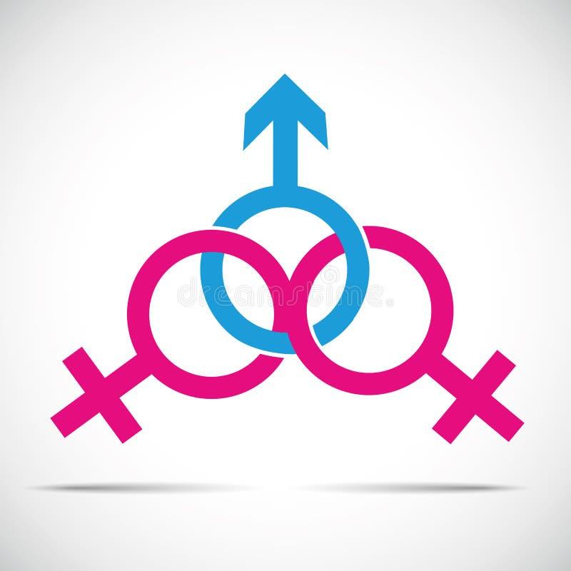 Fuskpartnerförhållande och kvinnligt symbol ett och två man för bedrägeri stock illustrationer