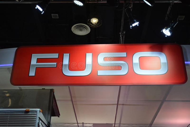 Fuso exhibit booth signage. PASAY, PH - AUG. 17: Fuso exhibit booth signage on August 17, 2018 at Transport and Logistics in World Trade Center Metro Manila royalty free stock images