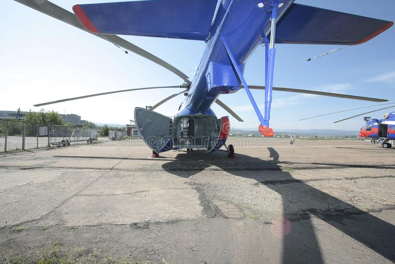 Fusoliera dell'elicottero merci fotografie stock
