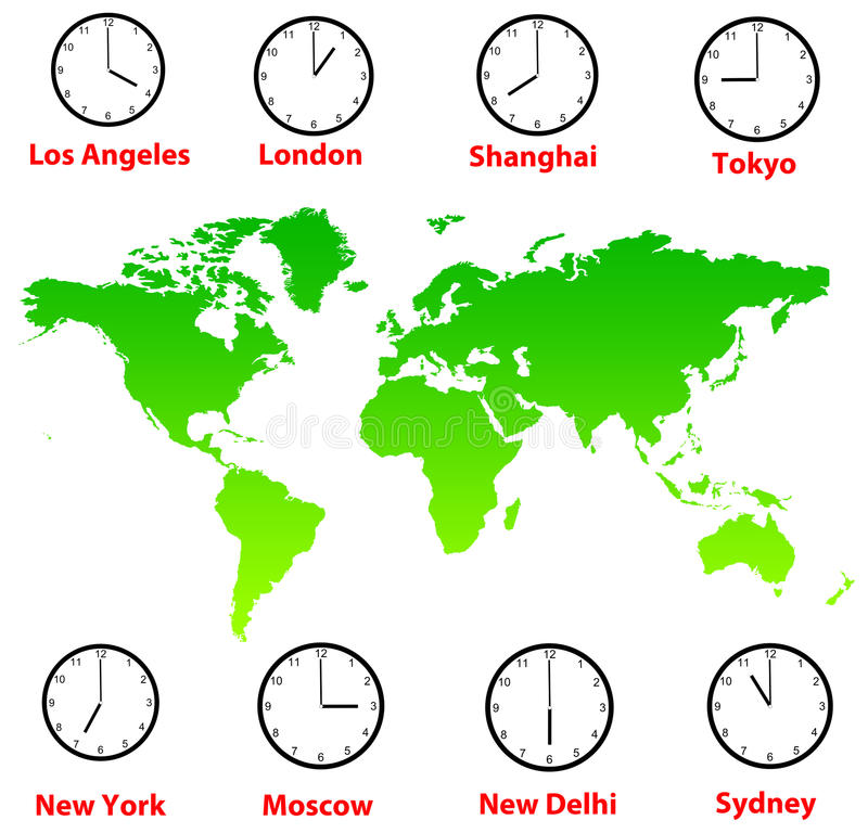 Fusos horários do mundo ilustração do vetor