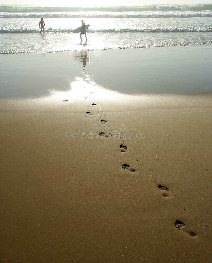 Fuss-Drucke Im Sand Stockfotos