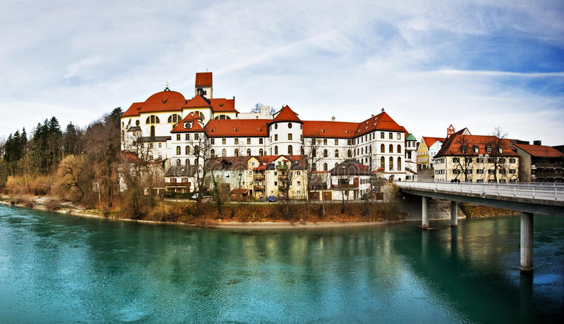 Fussen, Bavaria, Germany. Fussen panoramic with river , Bavaria, Germany stock photography