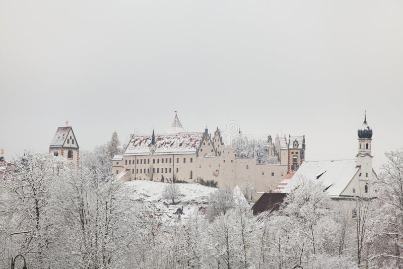 Fussen kasztel w zima krajobrazie obrazy stock