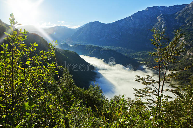 Futaleufu River Chile Mountains. Futalefu River covered by morning steam or clouds. Near the town of Futaleufu, Chile. In the Palena Province, Los Lagos Region stock images