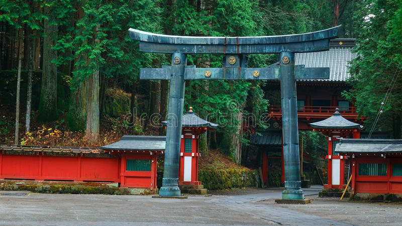 Futarasan relikskrin i Nikko, Japan arkivbilder