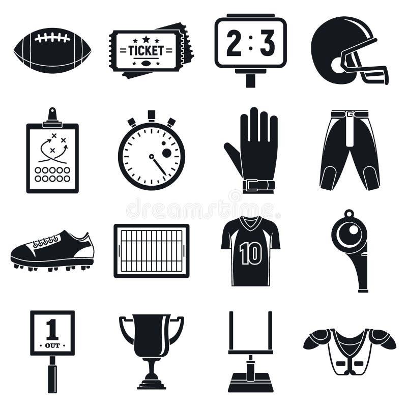 Futbol amerykański ikony ustawiać, prosty styl royalty ilustracja