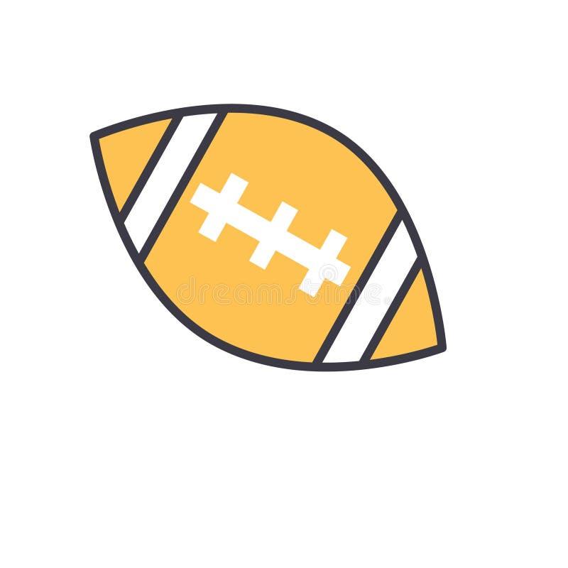 Futbol amerykański balowa płaska kreskowa ilustracja, pojęcie wektor odizolowywał ikonę ilustracji