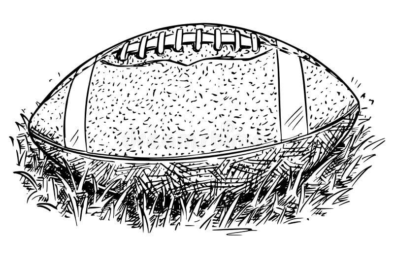 Futbol Amerykański Balowej Wektorowej ręki Rysunkowa ilustracja ilustracja wektor