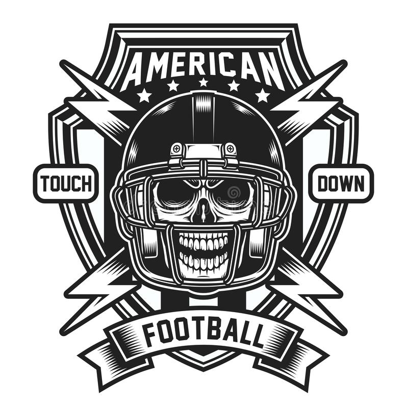 Futbol Amerykański czaszki emblemat Odizolowywający na bielu ilustracja wektor