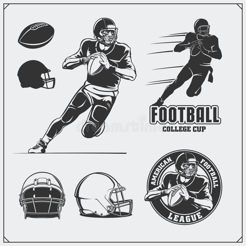 Futbol amerykański etykietki, emblematy i projektów elementy, Gracz futbolu, piłki i hełmy, royalty ilustracja