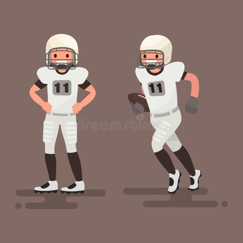 futbol amerykański Gracz pozuje, gracz biega Wektorowy illu