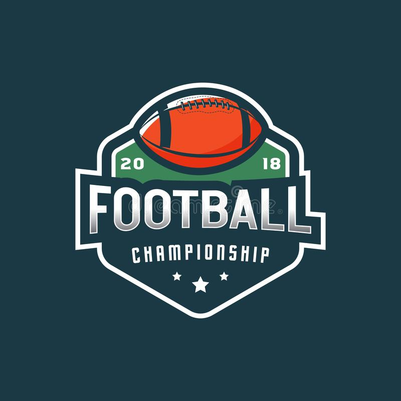 futbol amerykański logo sporta emblemat, odznaka również zwrócić corel ilustracji wektora ilustracja wektor