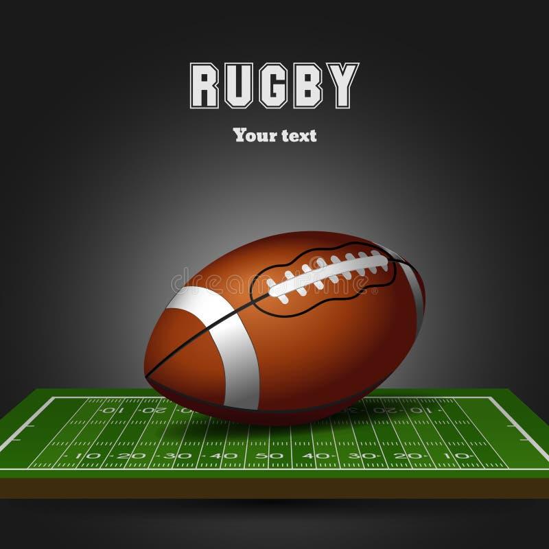Futbol amerykański piłka na polu Rugby czarny tło ilustracja wektor
