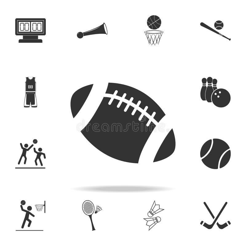 Futbol Amerykański piłki ikona Szczegółowy set atlet i akcesoriów ikony Premii ilości graficzny projekt Jeden kolekcja ilustracja wektor
