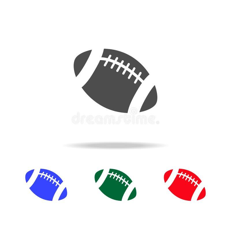 Futbol amerykański piłki ikony Elementy sporta element w wielo- barwionych ikonach Premii ilości graficznego projekta ikona ikona royalty ilustracja