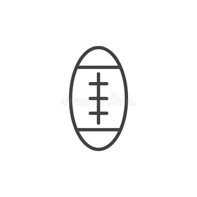 Futbol amerykański piłki linii ikona, konturu wektoru znak royalty ilustracja