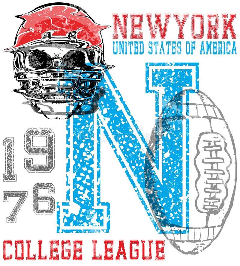 Futbol amerykański - rocznika wektorowy druk dla chłopiec sportswear w c ilustracji