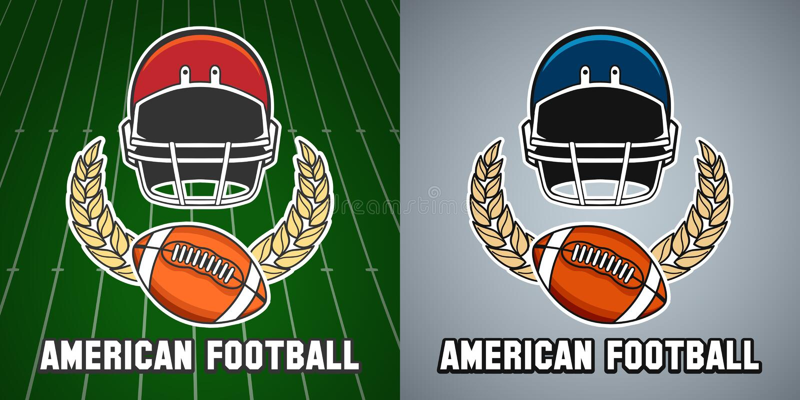 Futbol amerykański szkoły wyższa ligowy emblemat royalty ilustracja