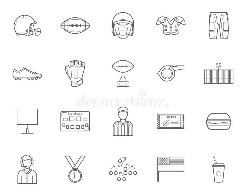 Futbol Amerykański znaków czerni ikony Cienki Kreskowy set wektor ilustracji
