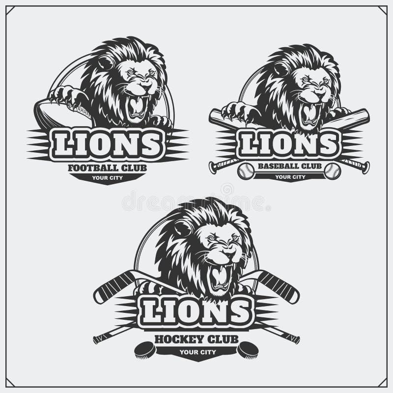 Futbol, baseball, hokej etykietki i logowie, i Sporta klubu emblematy z głową lew royalty ilustracja