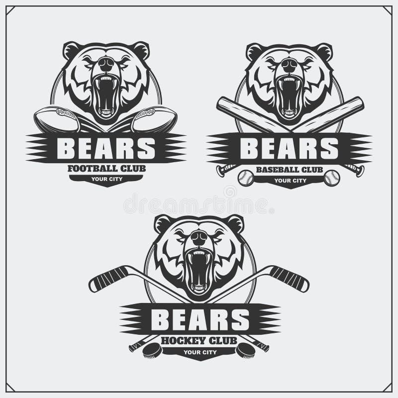 Futbol, baseball, hokej etykietki i logowie, i Sporta klubu emblematy z tygrysem royalty ilustracja