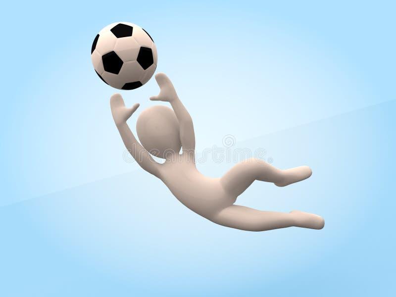 Futbol 3D-man uderza piłkę bramkarz ilustracji