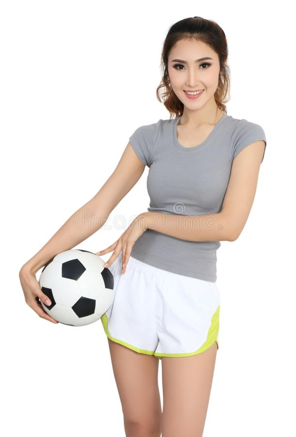 Futbol i kobieta zdjęcie royalty free
