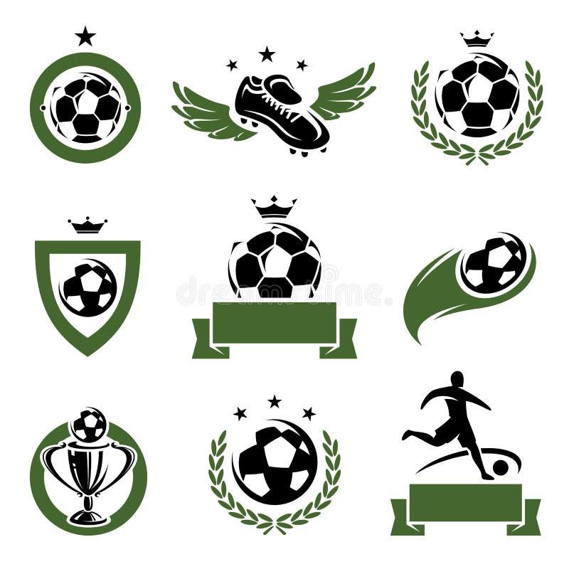 Futbol i piłek nożnych etykietki ustawiający ikony i. Wektor royalty ilustracja