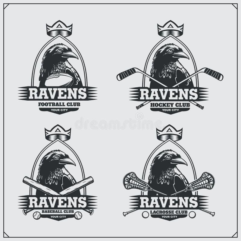 Futbol, lacrosse, baseball, hokej etykietki i logowie, i Sporta klubu emblematy z krukiem royalty ilustracja