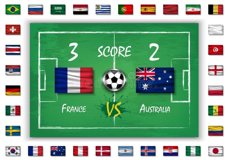 Futbol lub mecz piłkarski z tablicą wyników i setem wszystkie flaga państowowa na blackboard teksturze Wektor dla międzynarodoweg ilustracji
