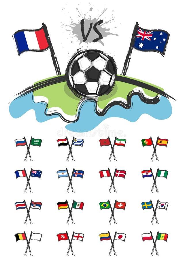 Futbol na świacie z setem krajowa piłki nożnej drużyna zaznacza dla redaguje ten wizerunek Sporta dopasowania pojęcie Akwareli sz royalty ilustracja