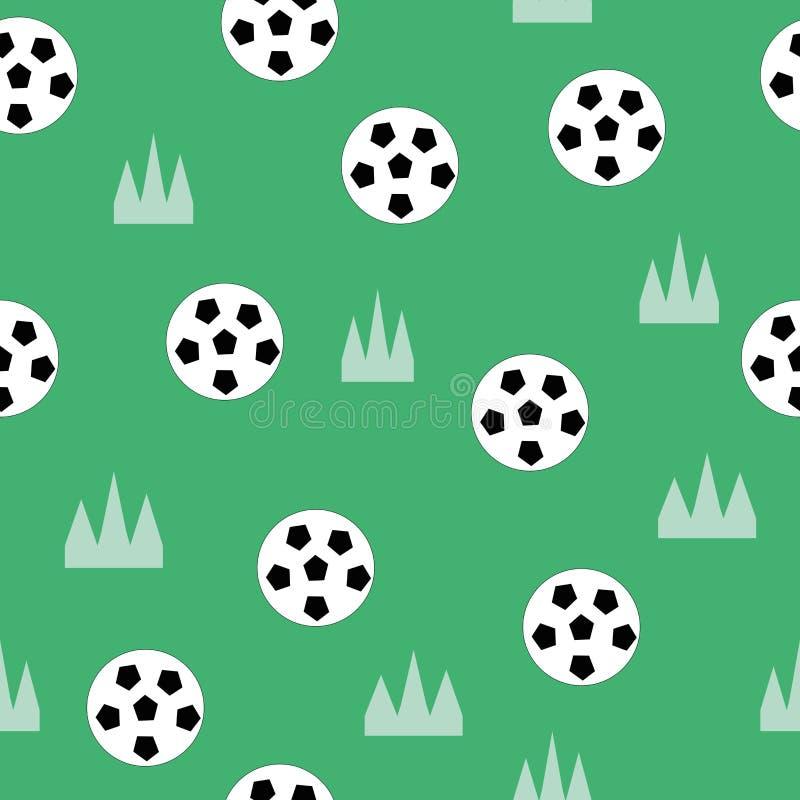 Futbol na trawa wielostrzałowym wzorze ilustracja wektor
