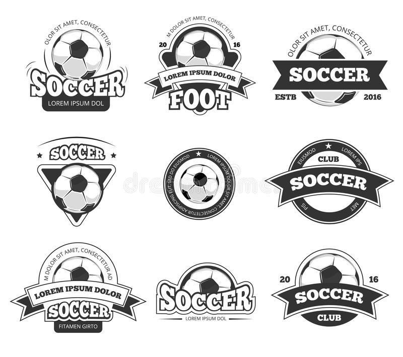Futbol, piłka nożna świetlicowy wektorowy logo, odznaka szablony ustawiający royalty ilustracja