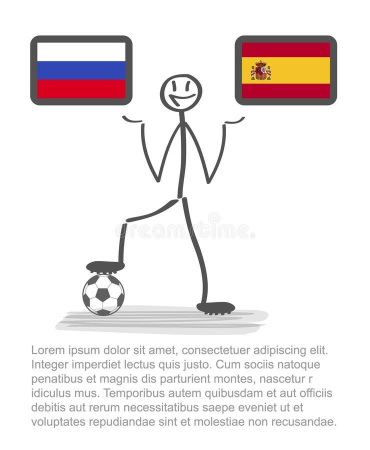 Futbol - piłka nożna puchar świata 2018 w Rosja kraju, wektorowy stackman Russia vs Spain finały ilustracji