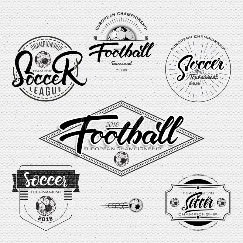 Futbol, piłka nożna turniej, mistrzostwo, ligowe ręki literowania odznak etykietki może używać dla projekta, prezentacje ilustracja wektor