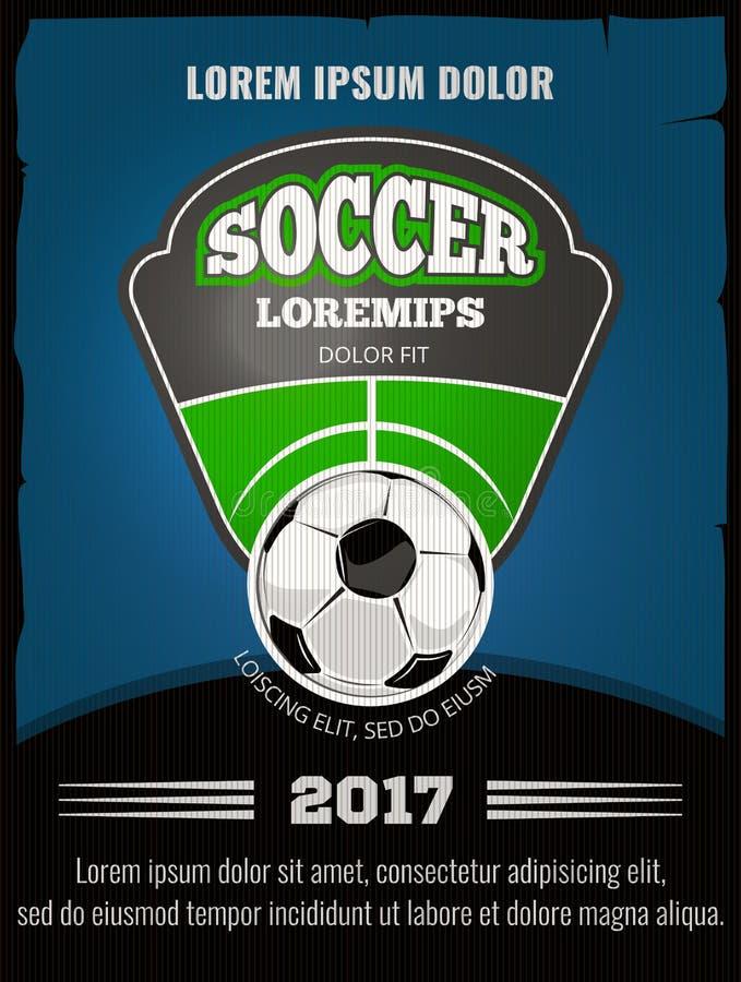 Futbol, piłka nożna wektorowy plakatowy szablon royalty ilustracja