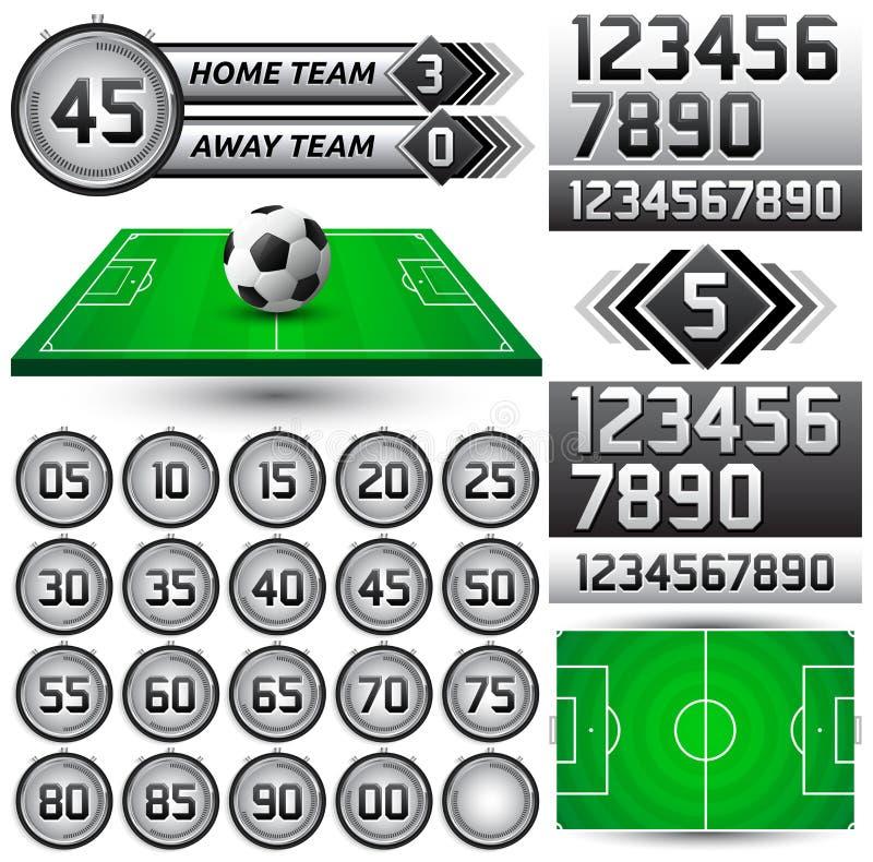 Futbol - piłka nożna zegar i tablica wyników ilustracji